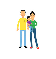 young parents standing with their little daughter vector image