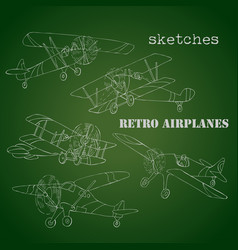 Background with retro airplanes vector