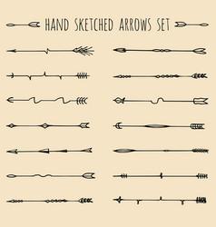 big set of hand drawn ethnic tribal arrows vector image