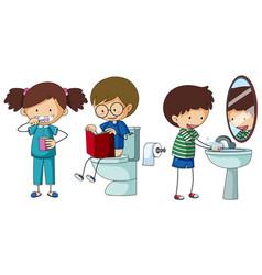 children doing different routine in bathroom vector image