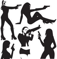 set of sexy woman silhouette with gun vector image vector image