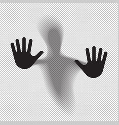 shadowy figure behind glass translucent isolated vector image vector image