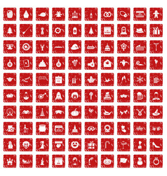 100 holidays icons set grunge red vector image vector image