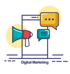 digital marketing mobile phone chat megaphone vector image