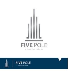 Five pole icon symbol vector