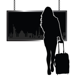girl travel with famous monument vector image vector image