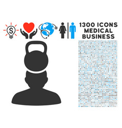 head weight stress icon with 1300 medical business vector image vector image