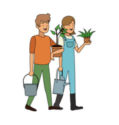 People with plant icon image vector