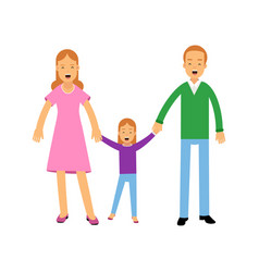 young parents standing with their little daughter vector image vector image