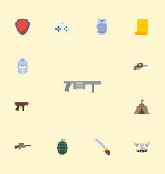 flat icons gun viking helmet parchment and other vector image