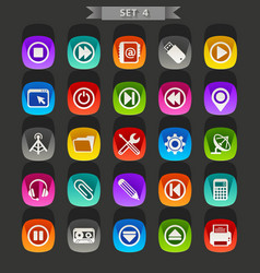 flat icons-set 4 vector image