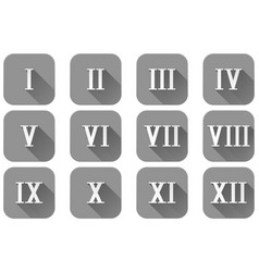 roman numerals grey square icons vector image