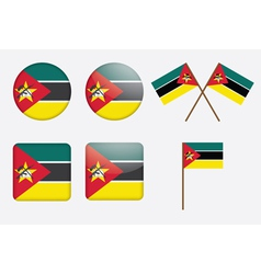 badges with flag of Mozambique vector image vector image