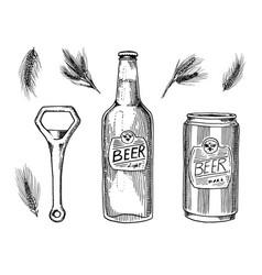 beer glass mug or bottle of oktoberfest wheat or vector image vector image