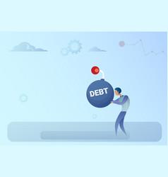 business man hold bomb credit debt finance crisis vector image