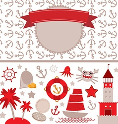 cute sea objects collection Vintage scrap nautical vector image