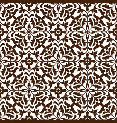 damask seamless floral pattern with brown flowers vector image vector image