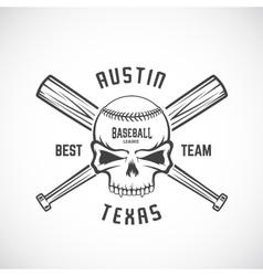Hand Drawn Baseball Team Logo Template Skull and vector image