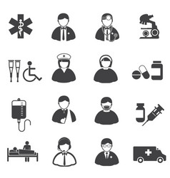 medical and er hospital icons set vector image