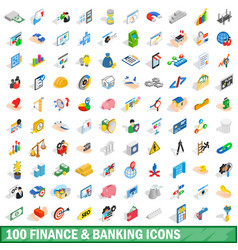 100 finance and banking icons set isometric style vector