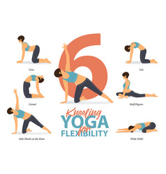 6 kneeling yoga poses for flexibility vector