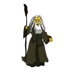 A white-haired old man with a stick in rags vector