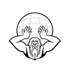 Atlas holding up world front view mascot black vector