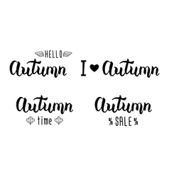 Autumn handlettering set Autumn logos and emblems vector image