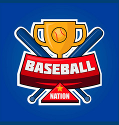 baseball nation logotype with golden cup vector image