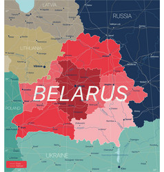 belarus country detailed editable map vector image