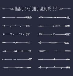 big set hand drawn ethnic tribal arrows vector image