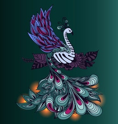 Bird Phoenix with lights on its tale vector