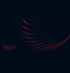 Black background with red wavy particles vector