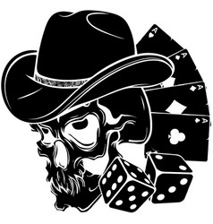 black silhouette cowboy skull with poker ace vector image