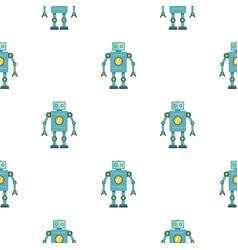 Blue retro robot pattern seamless vector