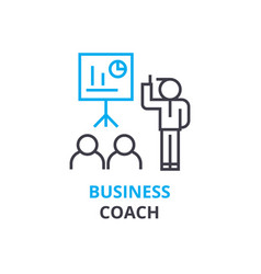 Business coach concept outline icon linear sign vector