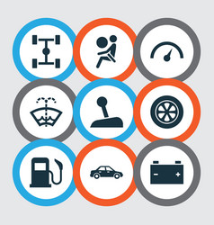 Car icons set with speedometer chassis battery vector