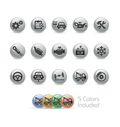 car service icons - metal round series vector image
