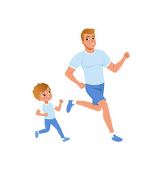 Cartoon father and son running together morning vector