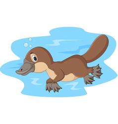 Cartoon happy platypus swimming vector