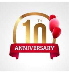 Celebrating 10th years anniversary golden label vector image