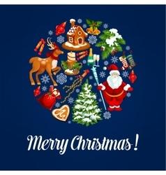 Christmas ball silhouette with xmas symbols vector image