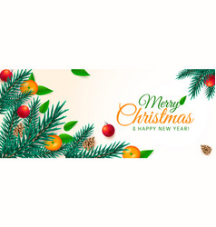 Christmas banner xmas green branches with orange vector