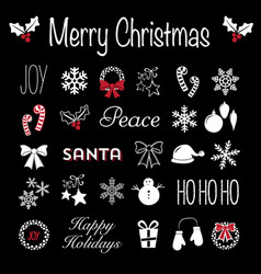Christmas blackboard icons and text vector