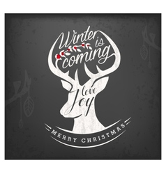 Christmas Greeting Design Elements with Reindeer vector