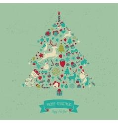 Christmas tree shape design Merry card vector