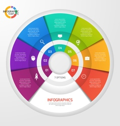 Circle infographic template 7 options vector