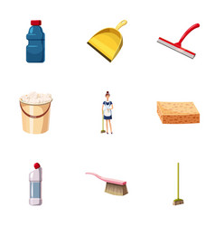 Cleaning equipment icons set cartoon style vector