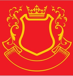Coat of arms with crown vector