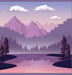 colorful background with dawn landscape of vector image